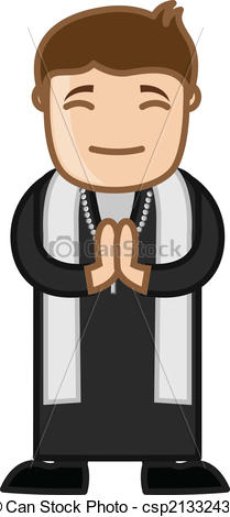 Christian character clipart svg black and white Vectors of Cartoon Christian Priest Character - Cartoon Priest Man ... svg black and white