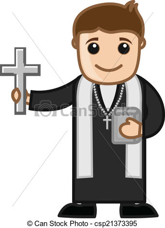 Christian character clipart clipart freeuse library EPS Vectors of Cartoon Christian Priest Vector - Priest - Vector ... clipart freeuse library