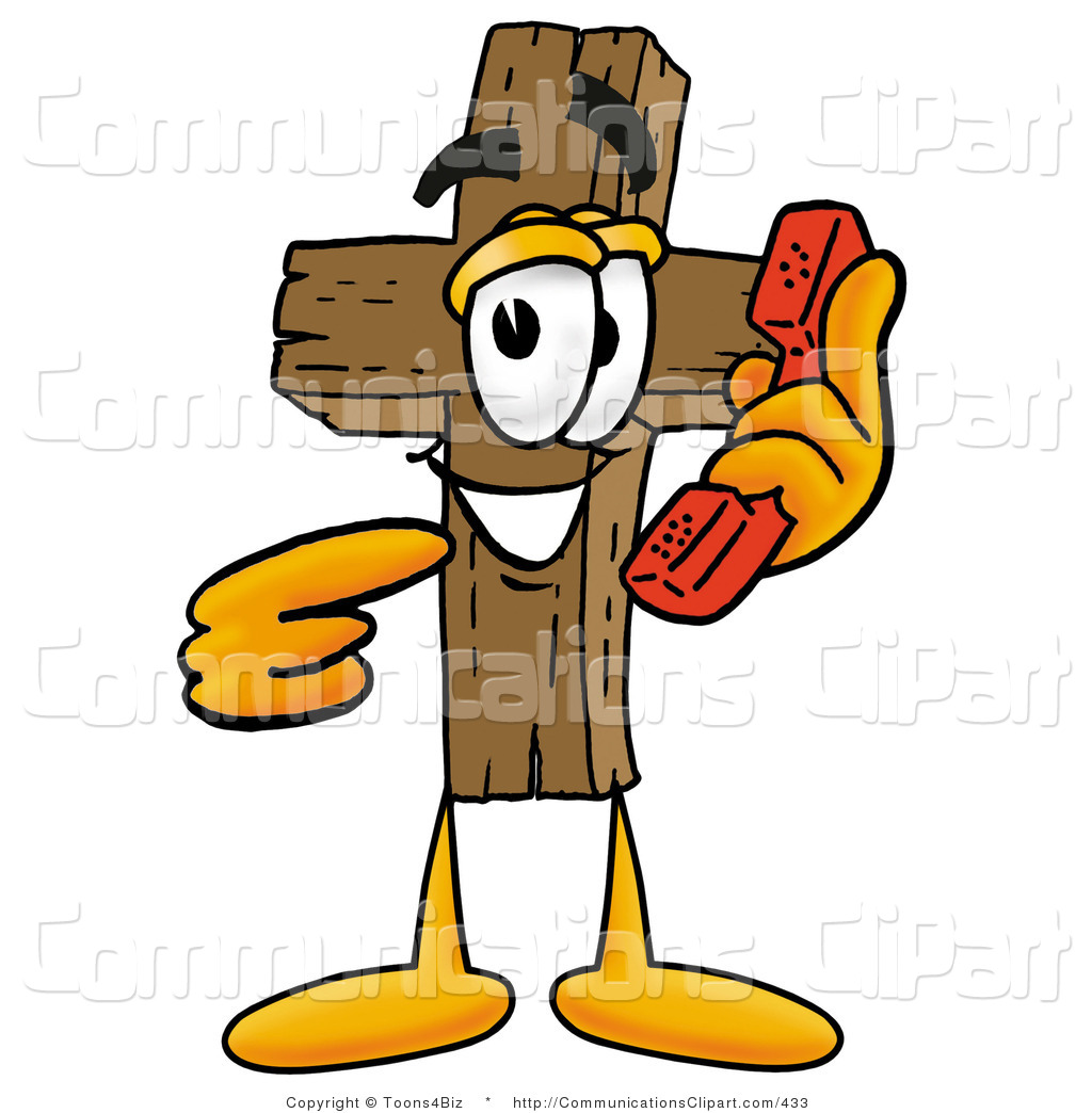 Christian character clipart vector download Communication Clipart of a Christian Wooden Cross Mascot Cartoon ... vector download