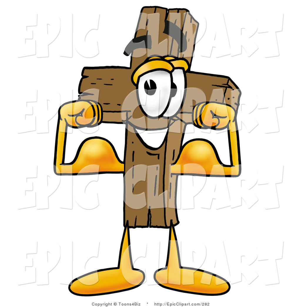 Christian character clipart image black and white library Clip Art of a Strong Wooden Christian Cross Mascot Cartoon ... image black and white library