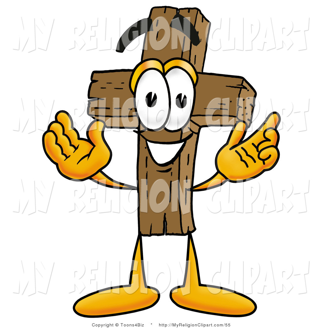 Christian character clipart picture stock Religion Clip Art of a Wooden Christian Cross Mascot Cartoon ... picture stock
