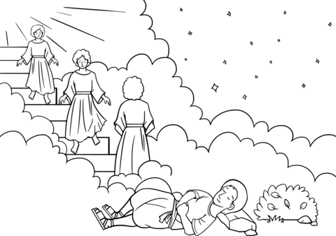 Christian clipart public domain jacob and esau svg free stock Jacob\'s Ladder Dream coloring page | Free Printable Coloring Pages svg free stock