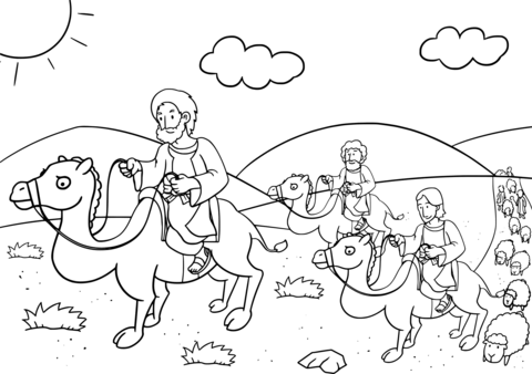 Christian clipart public domain jacob and esau vector black and white download Jacob Returns to Bethel coloring page | Free Printable Coloring Pages vector black and white download
