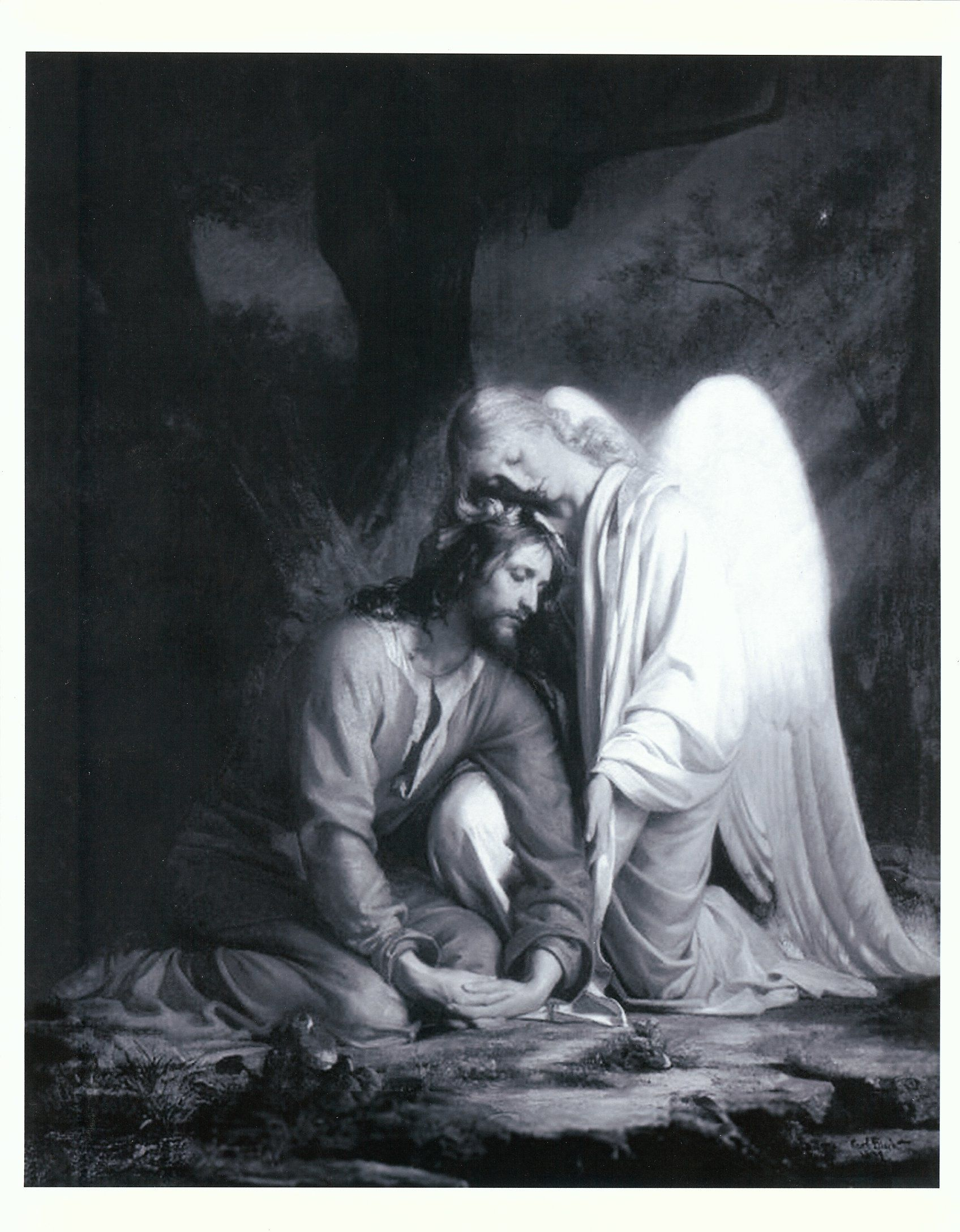 Christian clipart public domain jesus at gethsemane jpg freeuse stock An angel comforts Christ while in Gethsemane. I love this picture ... jpg freeuse stock