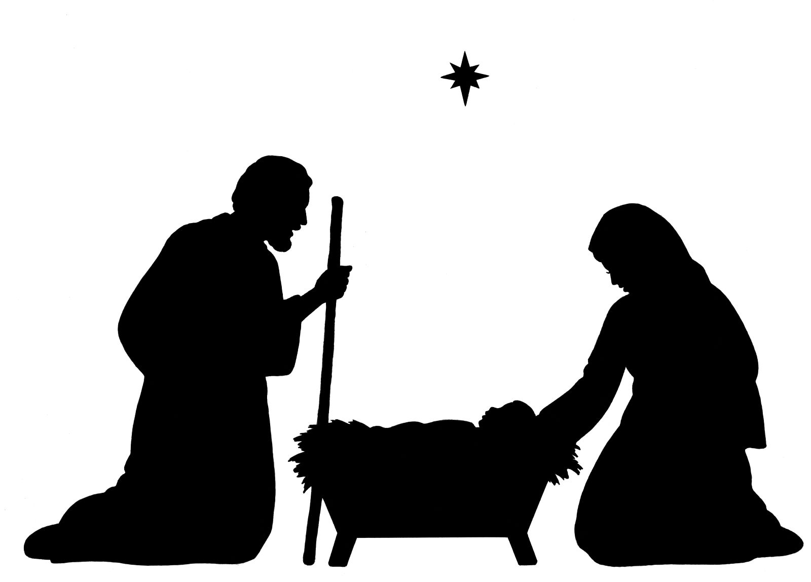 Jesus in a manger black and white clipart free library Baby Jesus Silhouette   Nativity Silhouette Clip Art   + Black ... free library