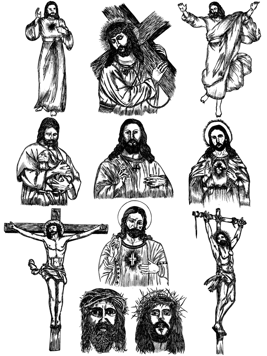 Christian clipart vector pack clip library library Hand Drawn Jesus Christ Vector and Photoshop Brush Pack-01 clip library library