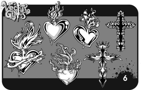 Christian clipart vector pack picture Sacred Heart Hand Drawn Christian Vector Pack picture