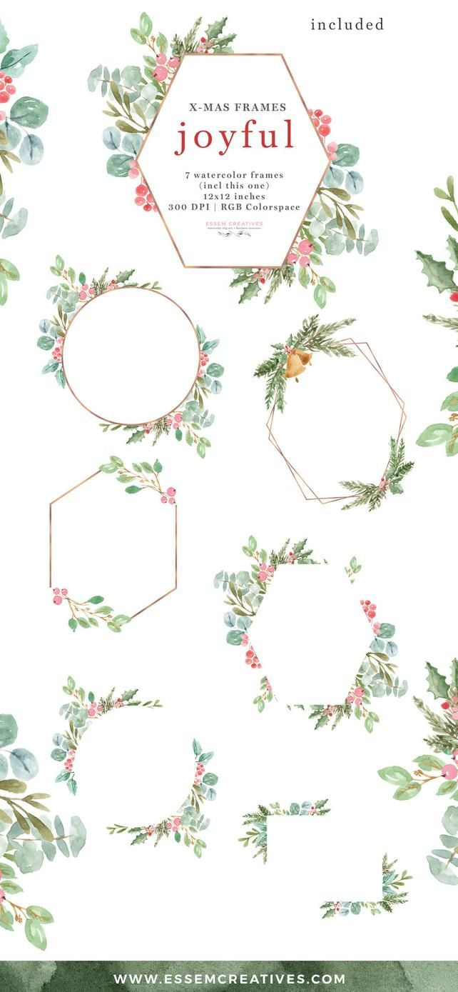 Christian clipart winter greenery clipart free library Watercolor Christmas Frames Clipart, Joyful Rose Gold Geometric ... clipart free library
