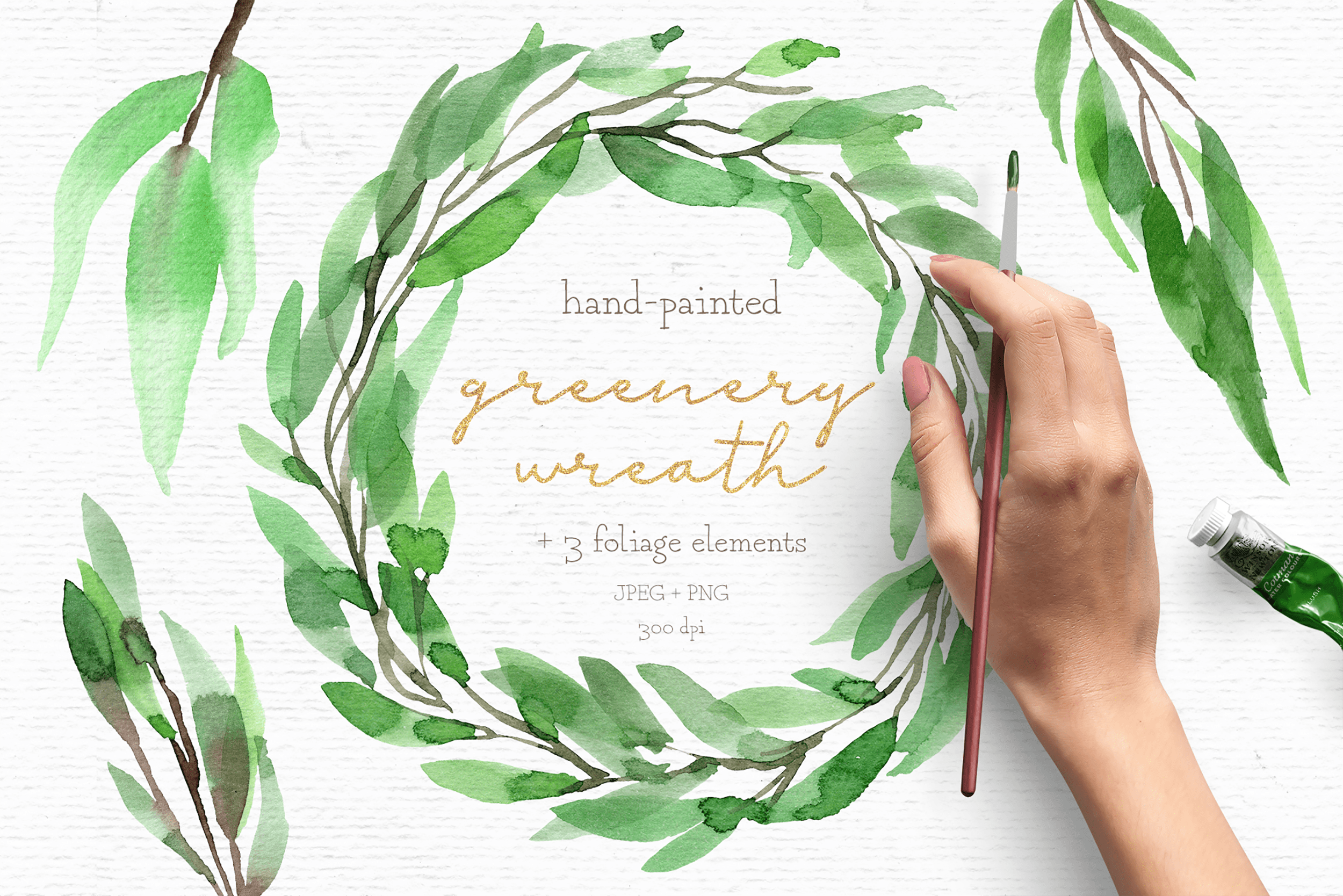 Christian clipart winter greenery jpg library library Greenery watercolor wreath clipart jpg library library