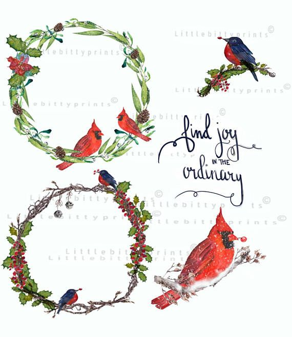 Christian clipart winter greenery clipart black and white Watercolor Wreaths birds Cliparts .Winter Christmas Clipart. Instant ... clipart black and white