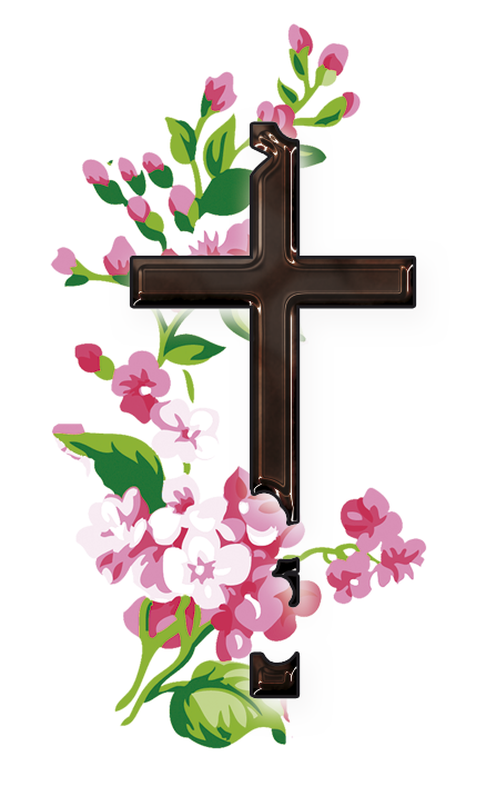 Flowering of the cross clipart. Floral design christian flower