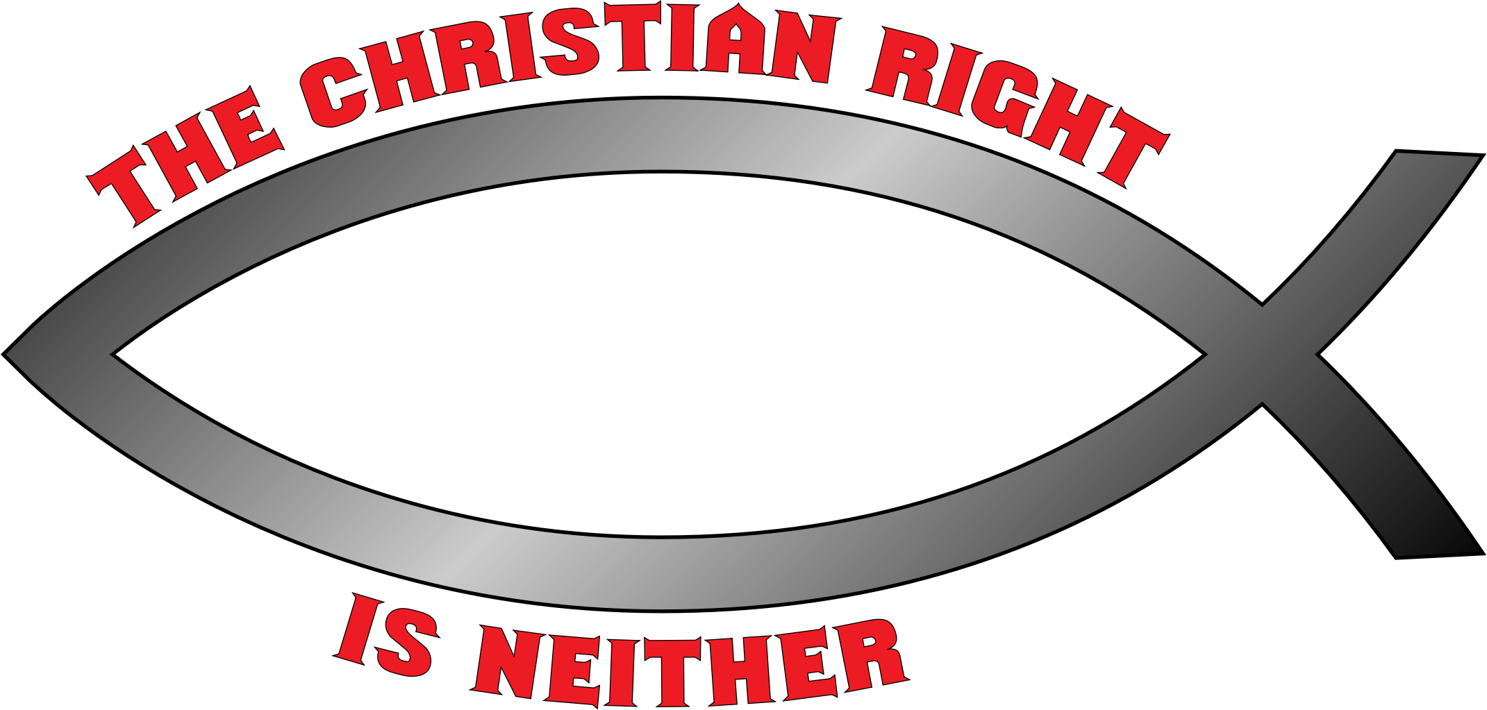 Religious fish clipart vector black and white Clipart - The Christian Right is neither bumper sticker vector black and white