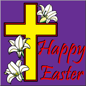 Happy easter clipart religious banner free library Clip Art: Religious: Happy Easter with Cross Color I abcteach.com ... banner free library