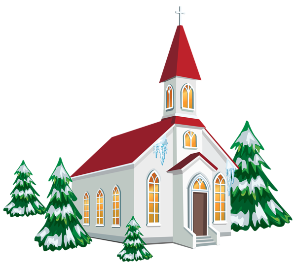 Merry christmas religious clipart banner freeuse download Winter Church with Snow Trees PNG Clipart Image | Clipart and ... banner freeuse download