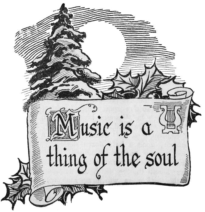 Christmas Clip Art Scroll with Winter Scene - Music is a Thing of ... clip transparent