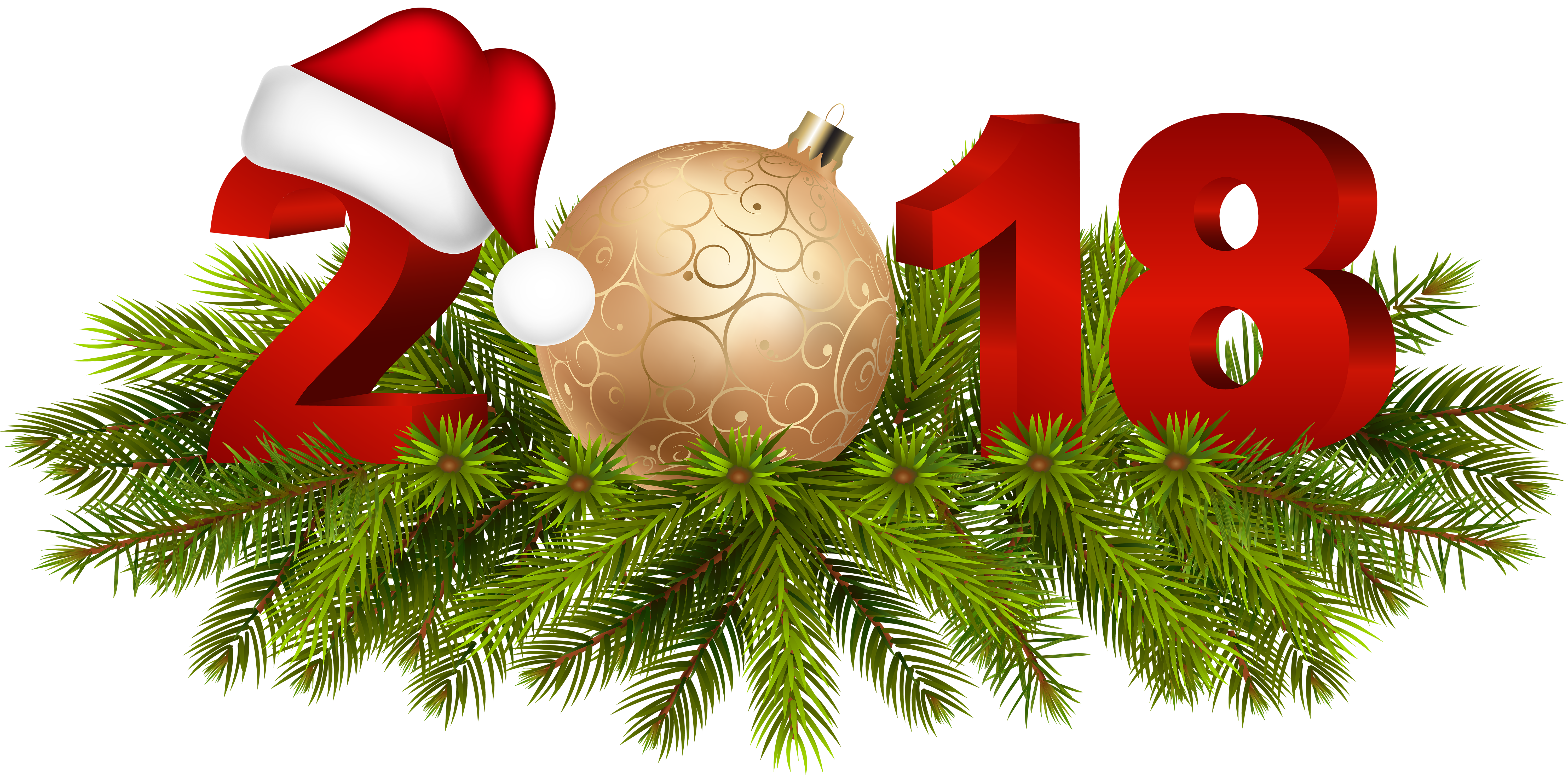 Christmas 2018 clipart png transparent download 2018 Christmas Decoration PNG Clip Art Image | Gallery Yopriceville ... png transparent download