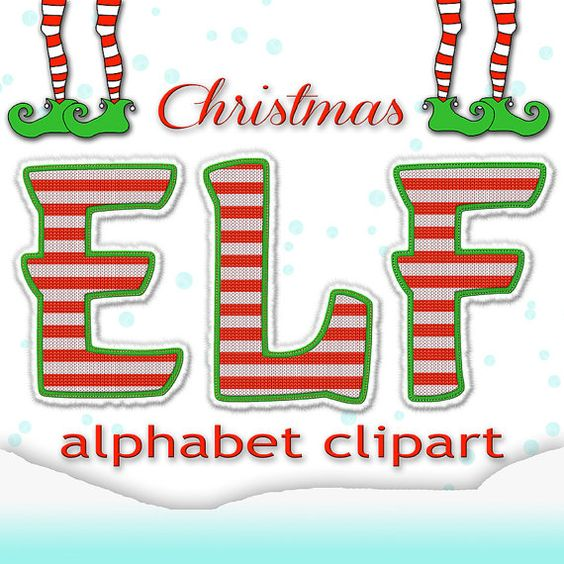 Christmas alphabet clipart clipart black and white library Christmas Alphabet Clipart, Elf Alphabet, Christmas Letters + ... clipart black and white library