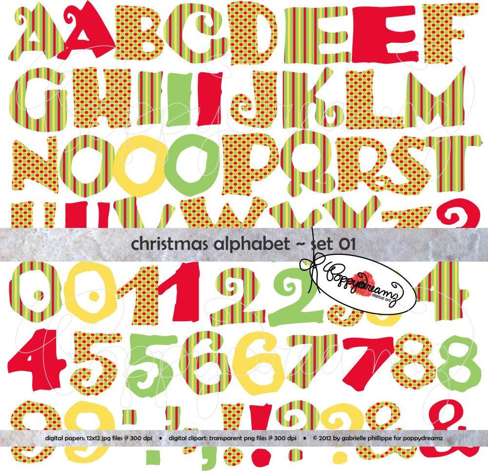 Christmas alphabet letter clipart banner freeuse download Christmas Candy Alphabet: Clip Art Pack 300 dpi Digital banner freeuse download