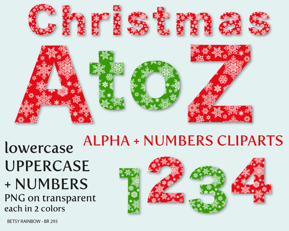 Christmas alphabet letter clipart graphic transparent stock Christmas alphabet clip art letters and numbers by BetsyRainbow graphic transparent stock