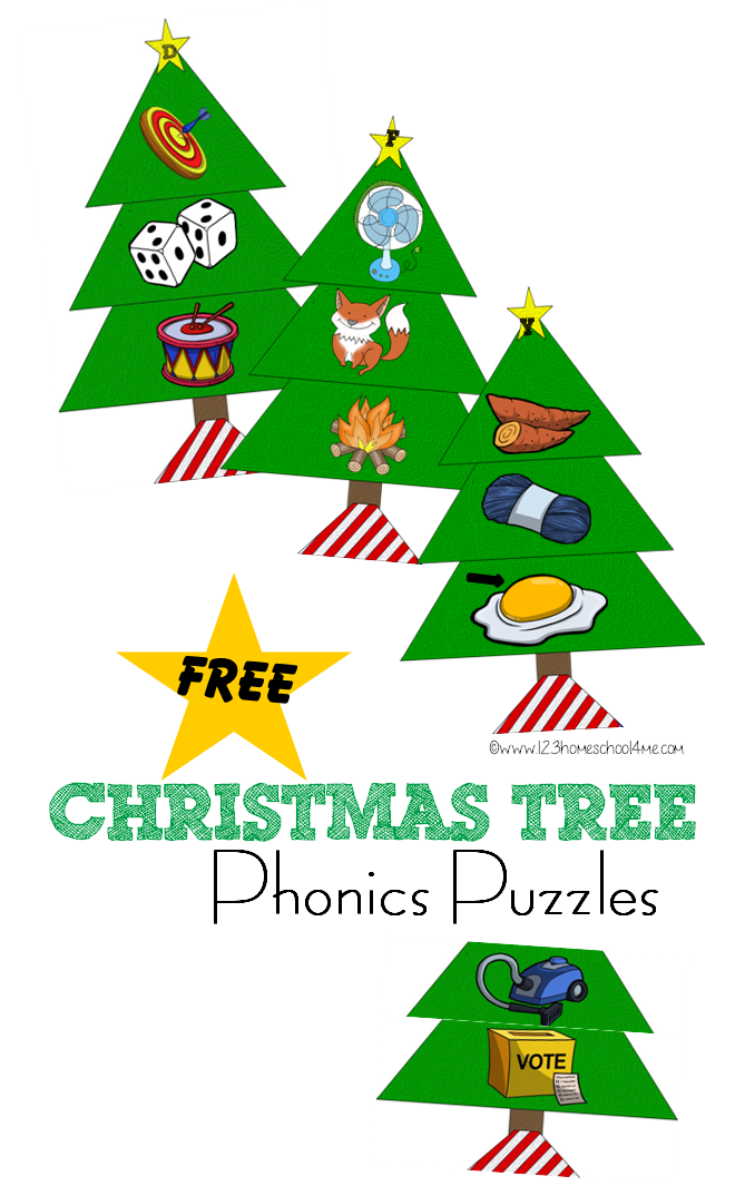 Christmas tree shop clipart image black and white download Christmas Tree Phonics Puzzles image black and white download