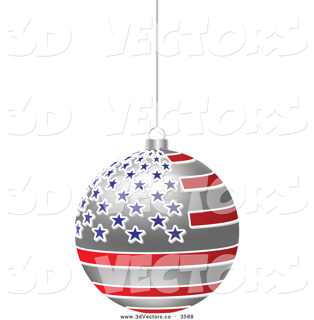 Christmas american flag clipart png free Vector Clipart of a 3d Hanging American Flag Christmas Bauble by ... png free