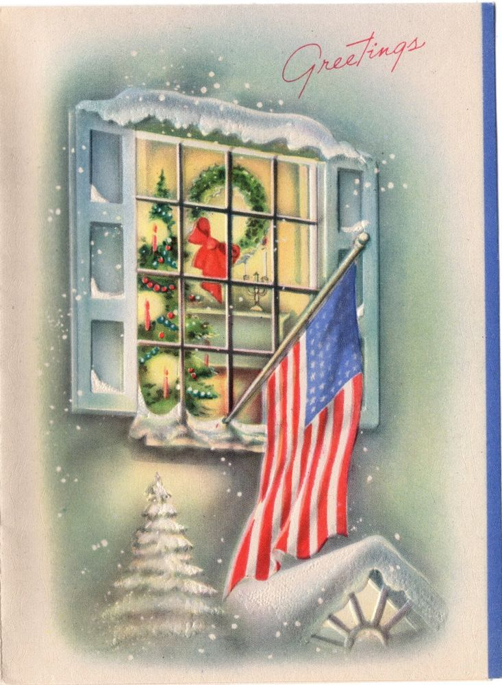 Christmas american flag clipart clip black and white library Home House Window Patriotic American Flag Fireplace VTG Christmas ... clip black and white library