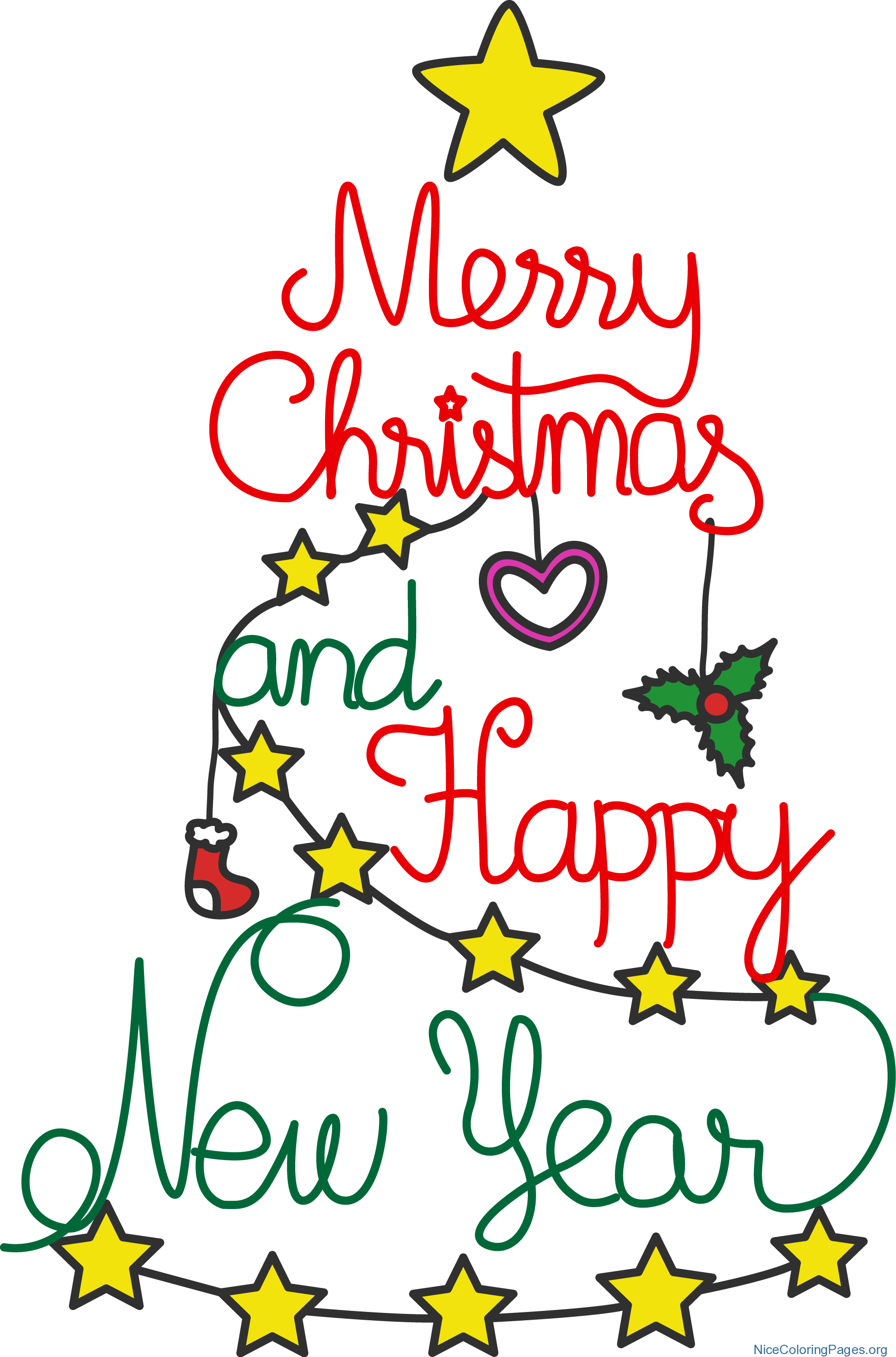 Christmas and new year clipart picture free stock Merry Christmas and Happy New Year Clipart | Nice Coloring Pages for ... picture free stock