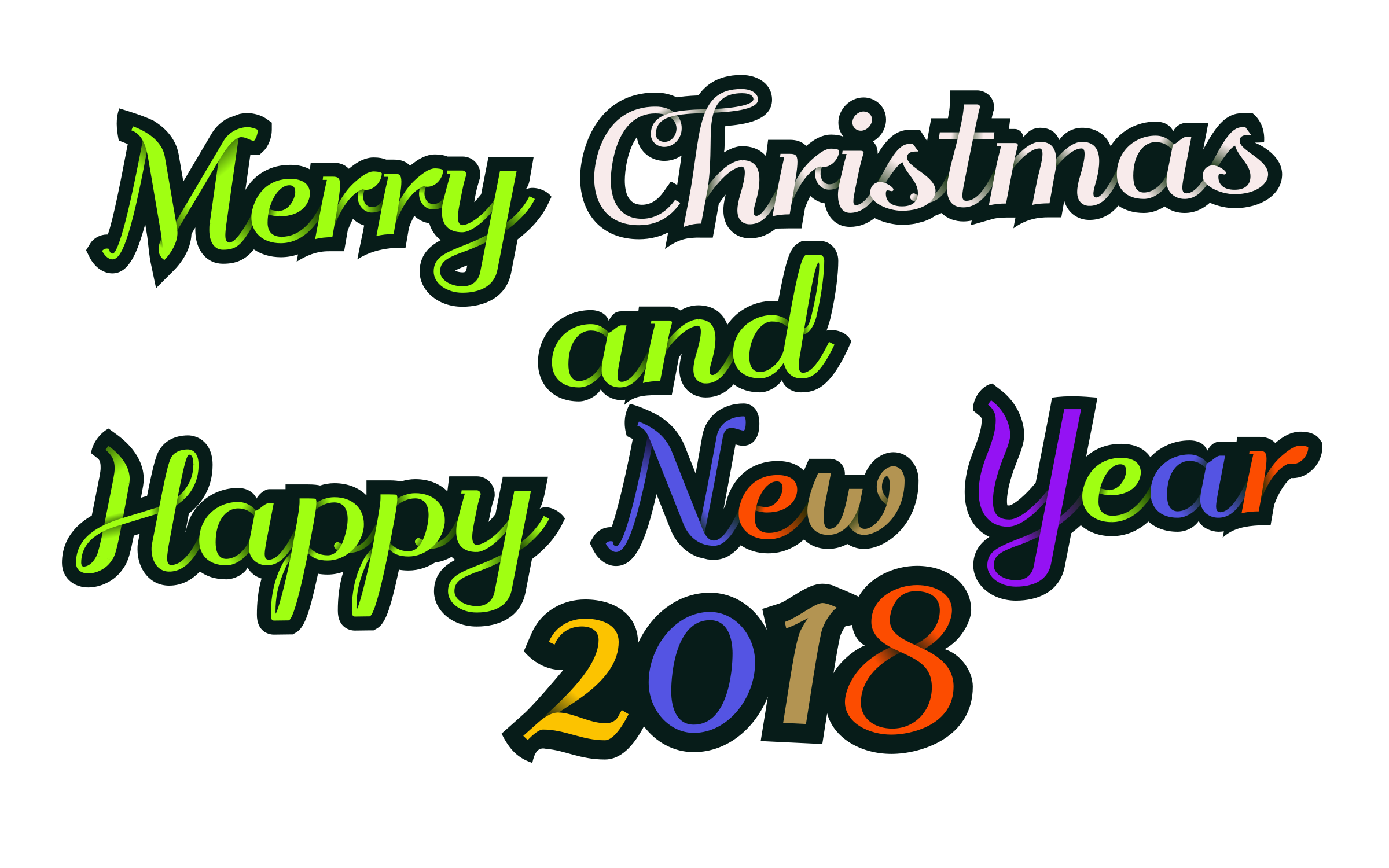 Christmas and new year clipart clip freeuse library Clipart - Merry Christmas & Happy New Year 2018 - decorative text clip freeuse library