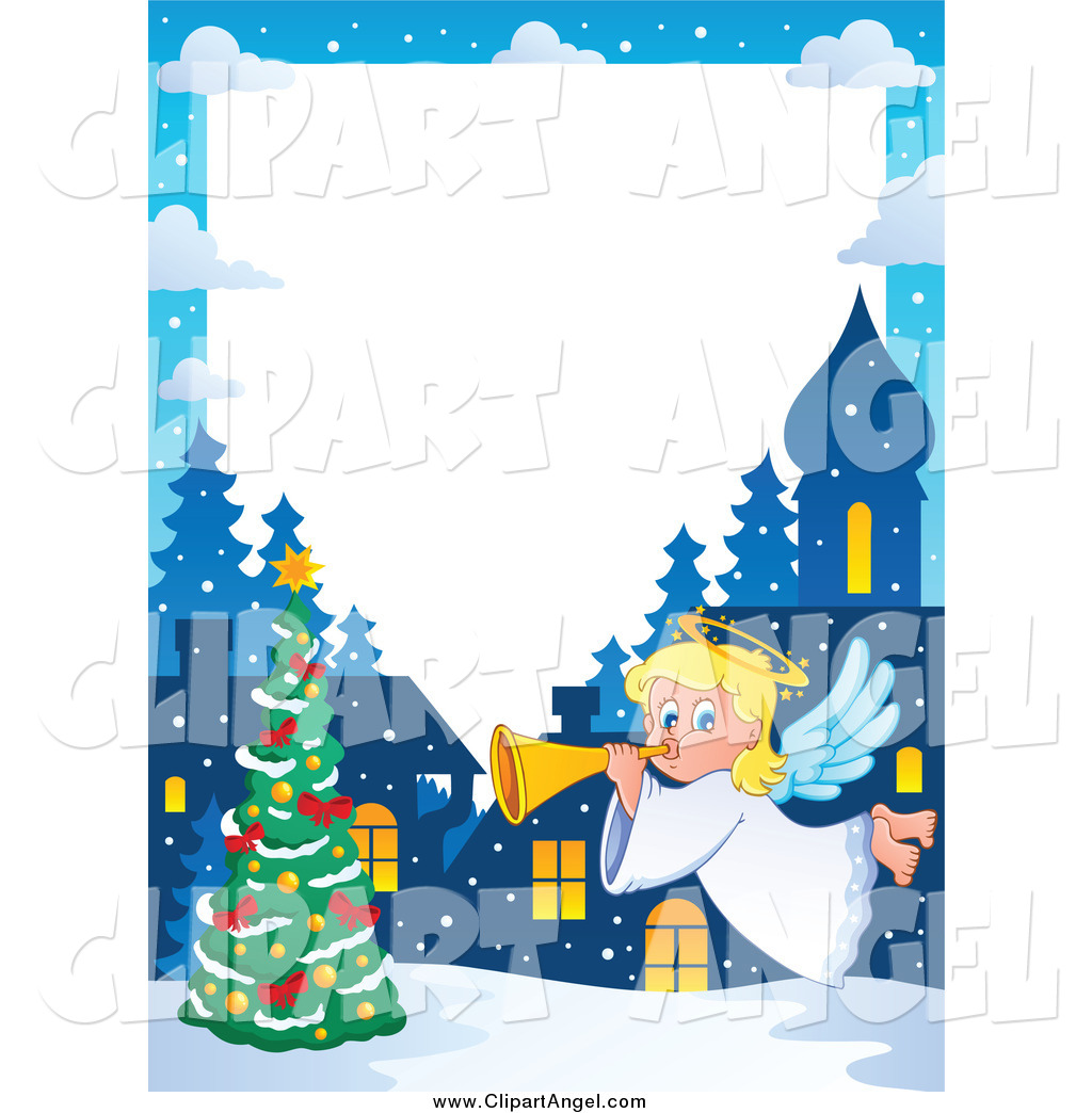 Christmas angel border clipart picture library download Illustration Vector Cartoon of a Winter Christmas Angel Border by ... picture library download