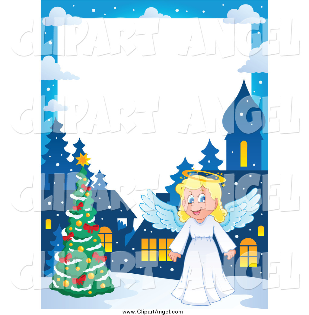 Christmas angel border clipart jpg library download Illustration Vector Cartoon of a Christmas Angel Border with a Tree ... jpg library download
