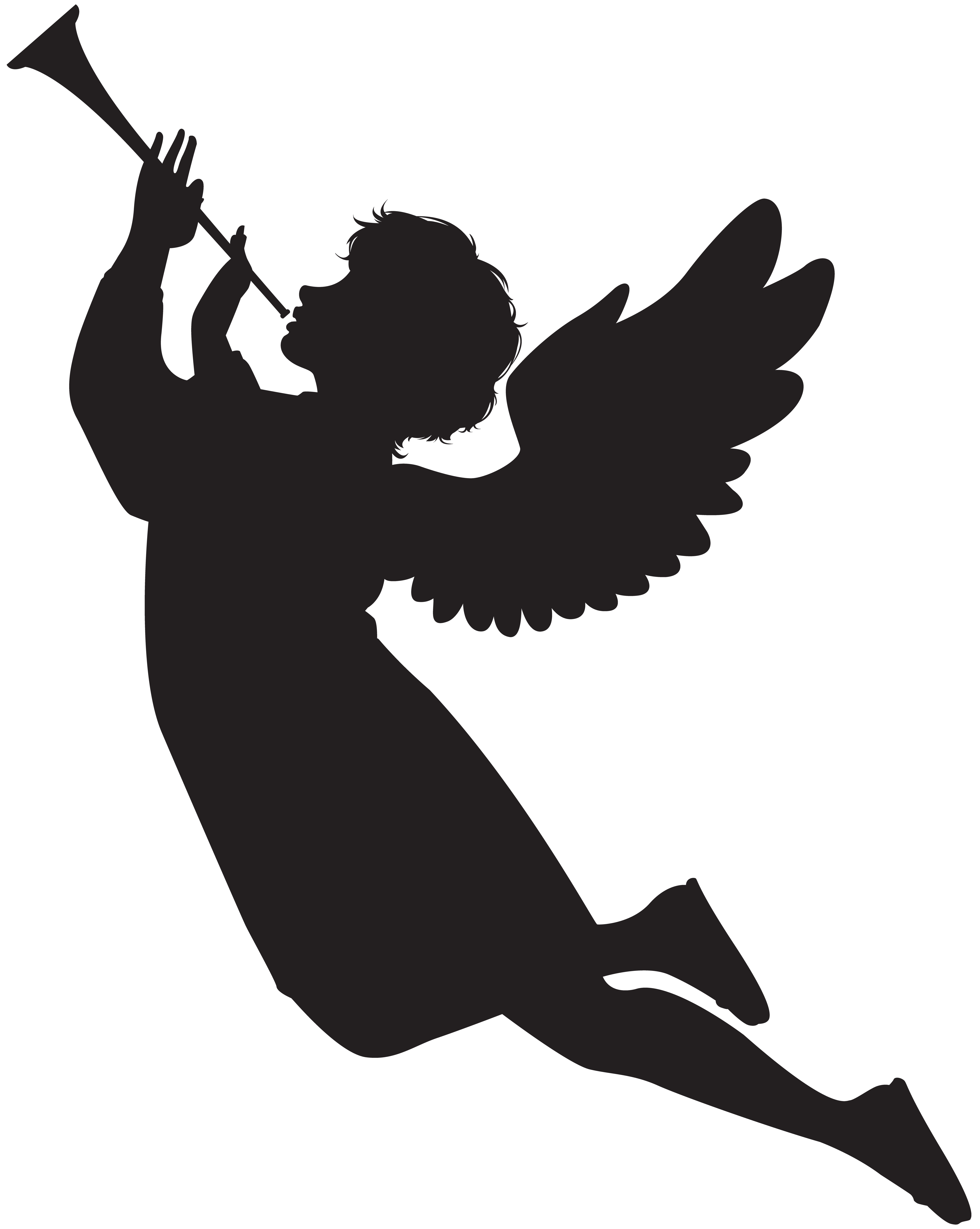 Flying angels with cross black white clipart.  collection of angel