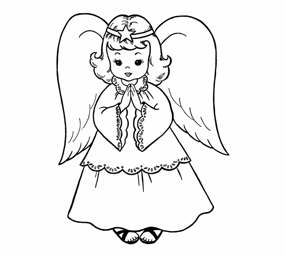 Christmas angels black and whtie clipart pencil sketch royalty free Pictures Christmas Angel Coloring For Kids - Angel Drawing For ... royalty free