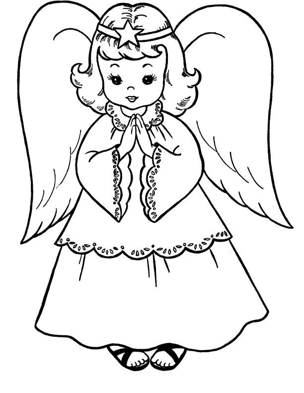 Christmas angels clipart black and white image black and white download Pictures Christmas Angel Coloring For Kids - Christmas Coloring ... image black and white download