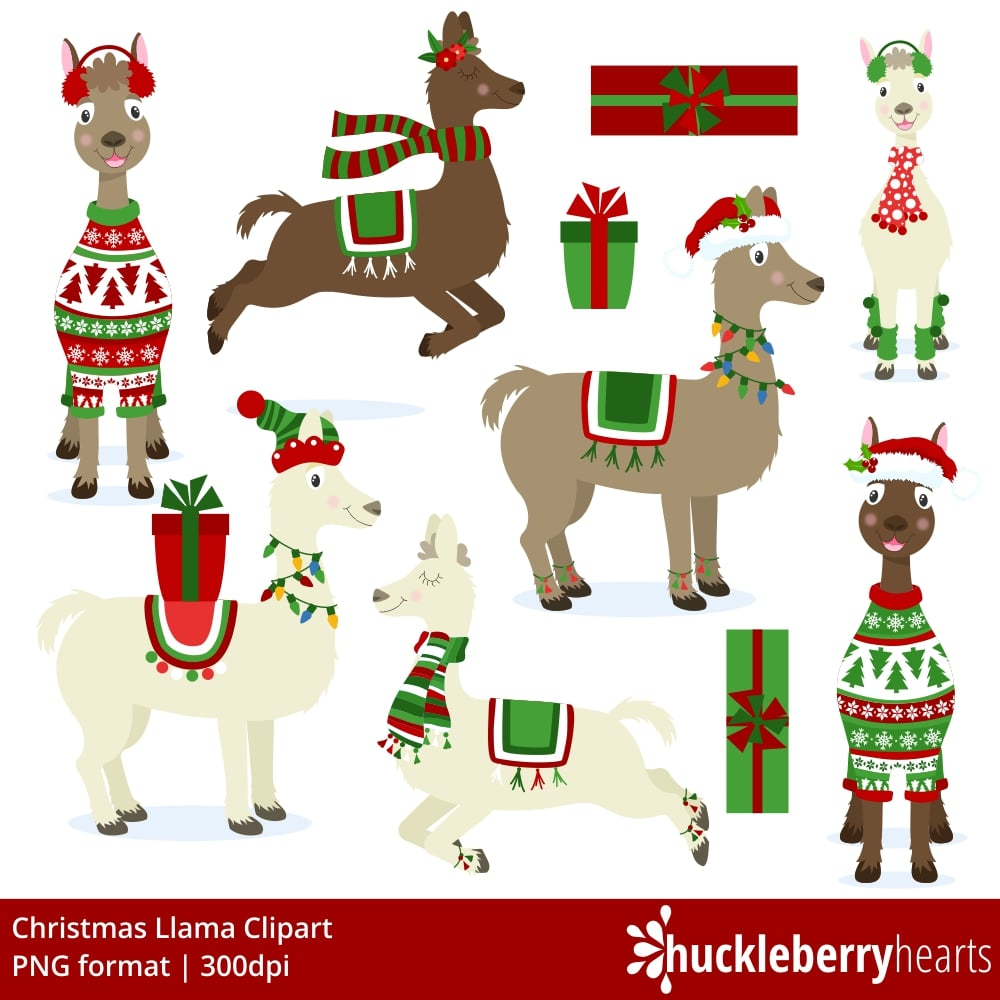 Christmas announcement clipart jpg free download Christmas Llamas Clipart jpg free download