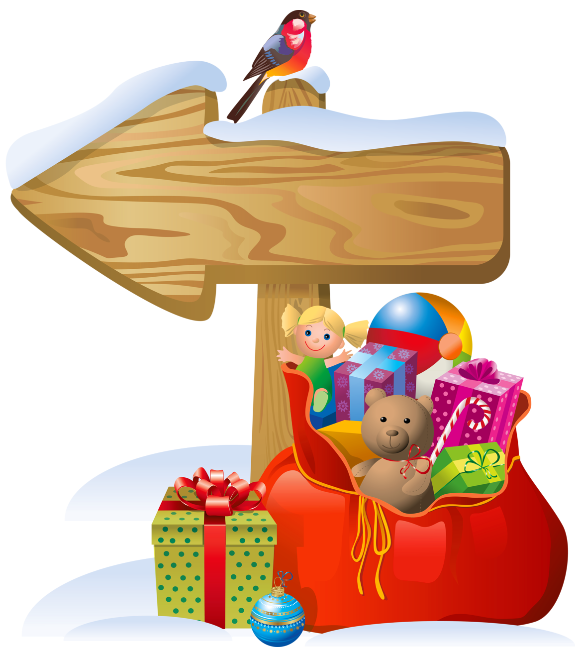 Christmas sign clipart image library download Transparent Christmas Sign and Santa Bag PNG Clipart | Gallery ... image library download