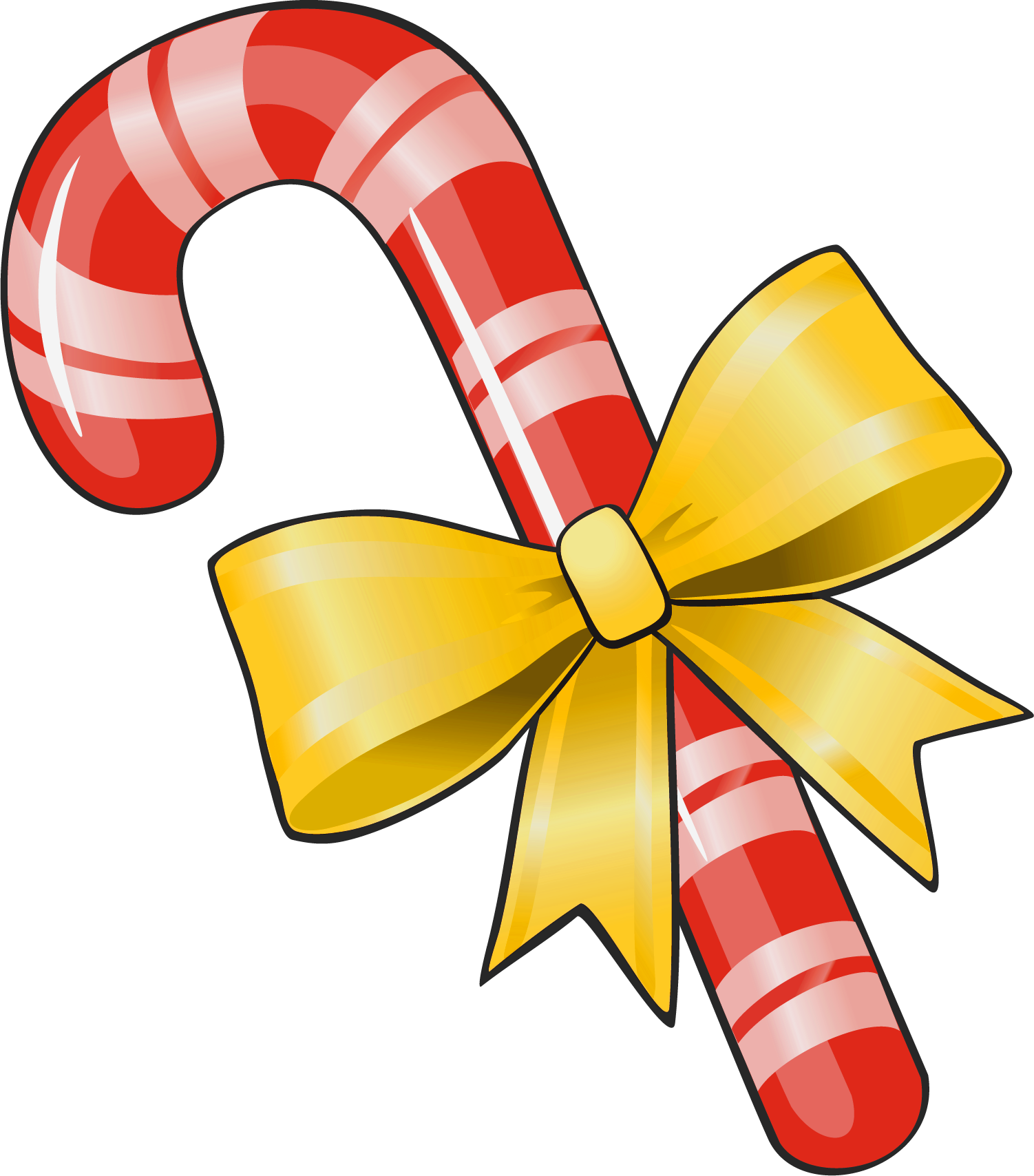 Christmas bows clipart download Transparent Christmas Candy Cane with Yellow Bow PNG Clipart ... download