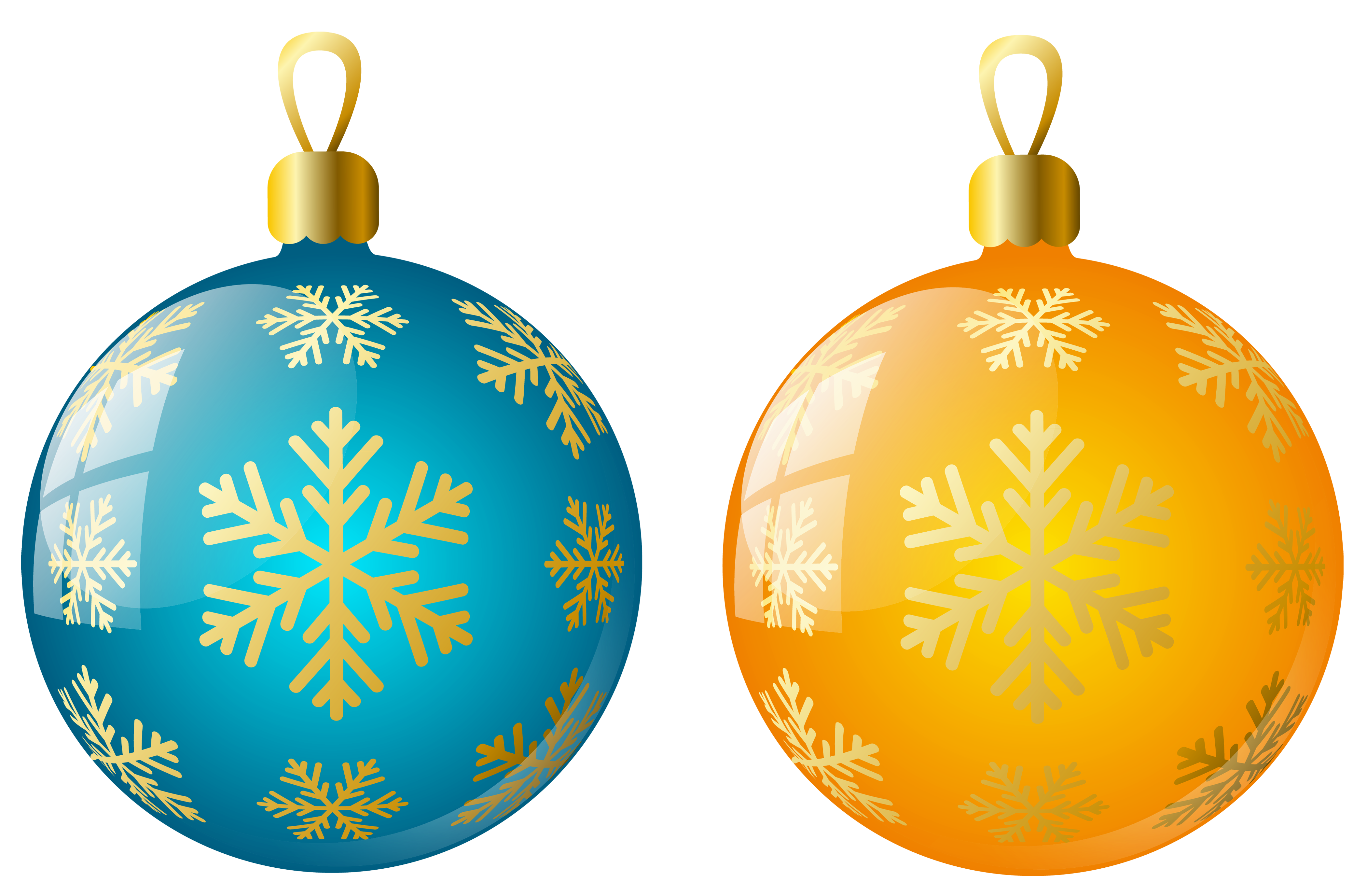 Christmas ball clipart clip art black and white Large Size Transparent Yellow and Blue Christmas Ball Ornaments ... clip art black and white