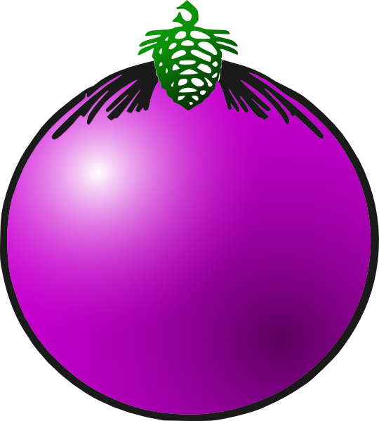 Christmas baubles clipart black and white Purple Bauble Clip Art at Clker.com - vector clip art online ... black and white