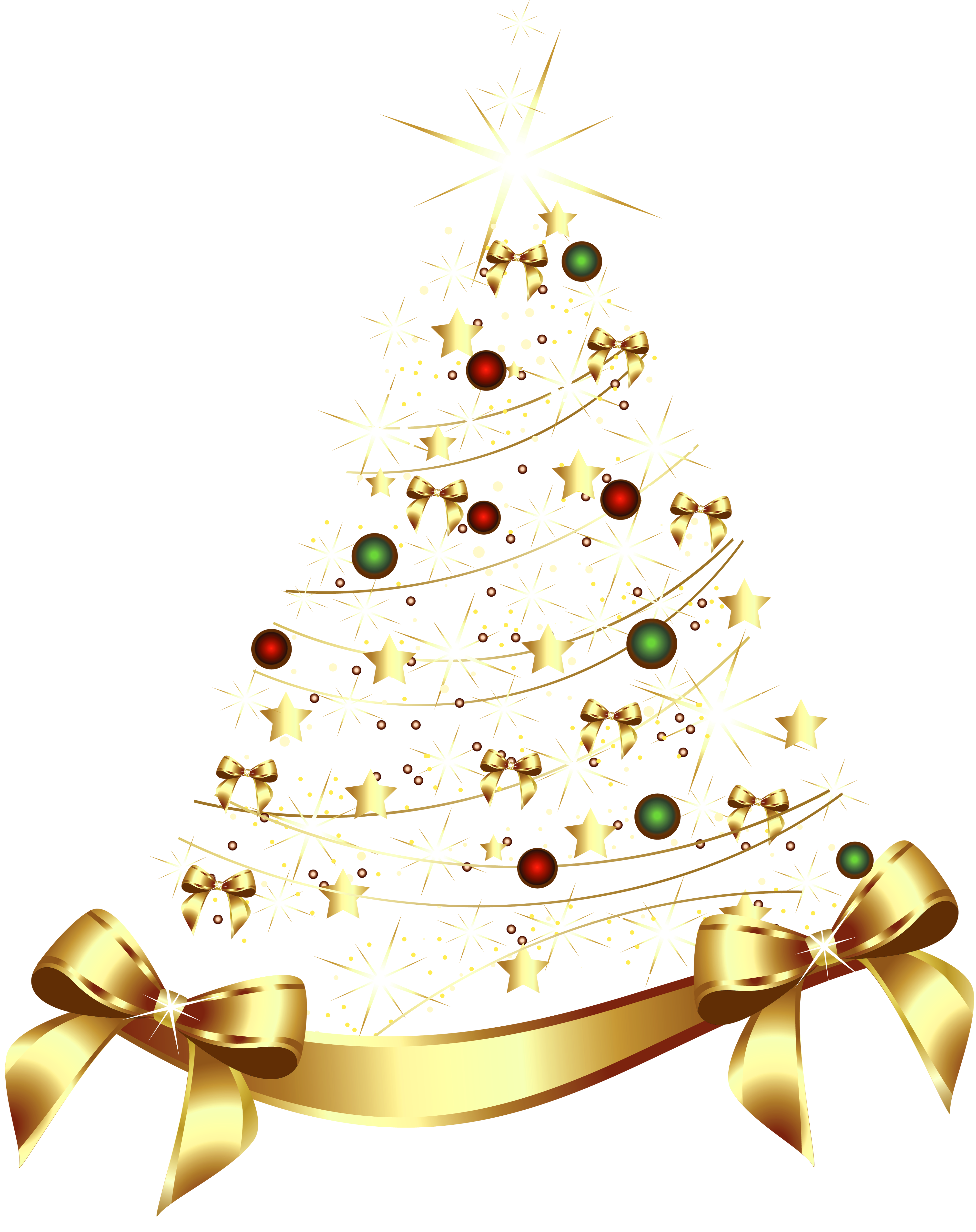 Christmas beach clipart black and white stock Large Transparent Gold Christmas Tree with Gold Bow PNG Clipart ... black and white stock