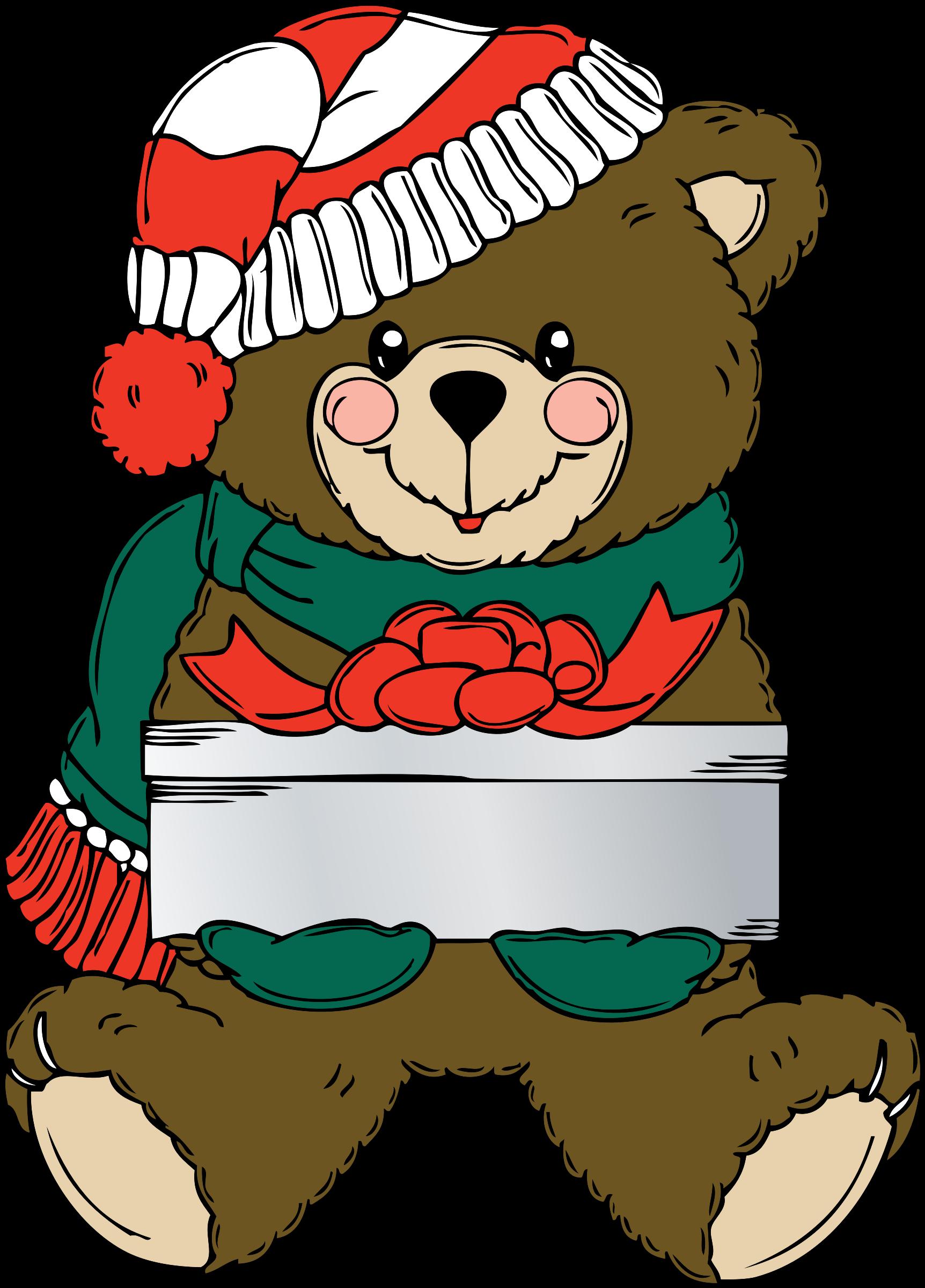 Christmas bear clipart banner royalty free Clipart - Christmas Bear wih present banner royalty free
