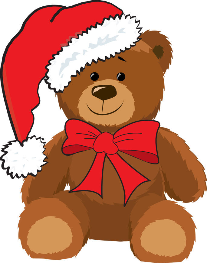 Christmas bear clipart png black and white Christmas Teddy Bears Clipart png black and white