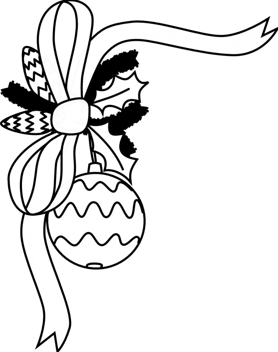 Christmas bells black and white clipart png royalty free library Black And White Christmas Card With Christmas Bells Ornament Clip ... png royalty free library