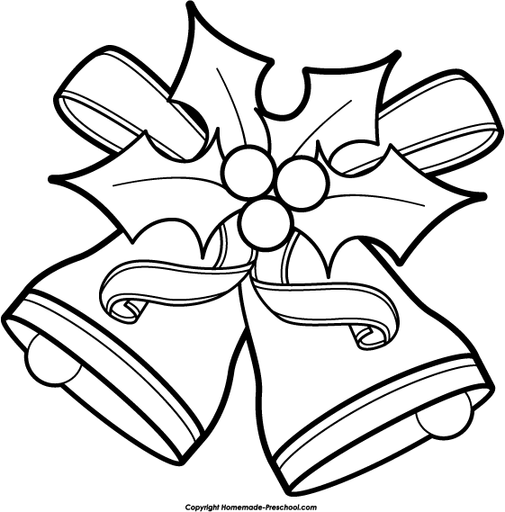 Free black and white clipart christmas. Bells download clip art