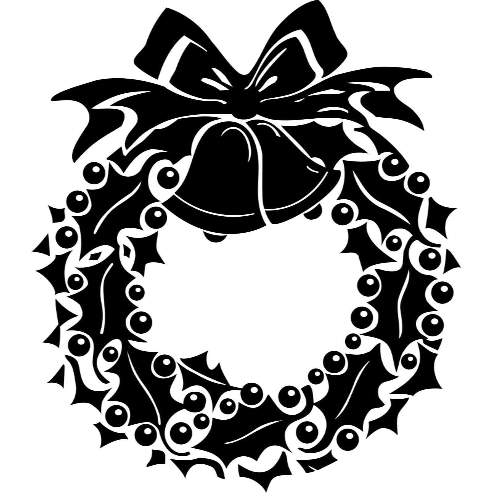Christmas bell wreath black and white clipart jpg freeuse download Holly and Berry Wreath with Bow and Bells Christmas Wall Sticker / Decal -  World of Wall Stickers jpg freeuse download