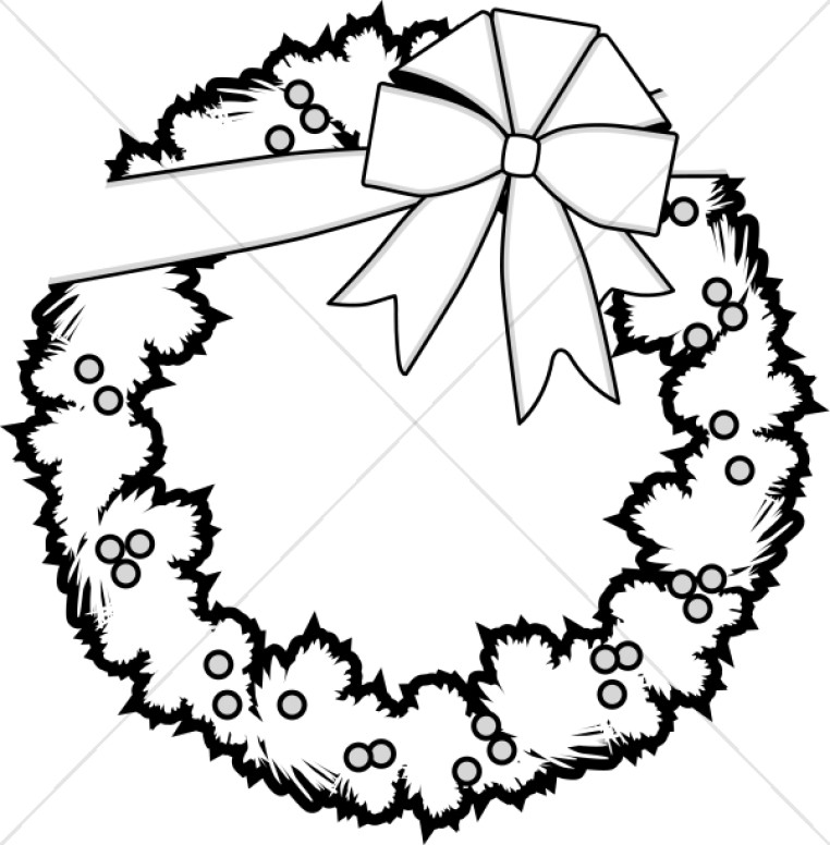 christmas wreath black and white png