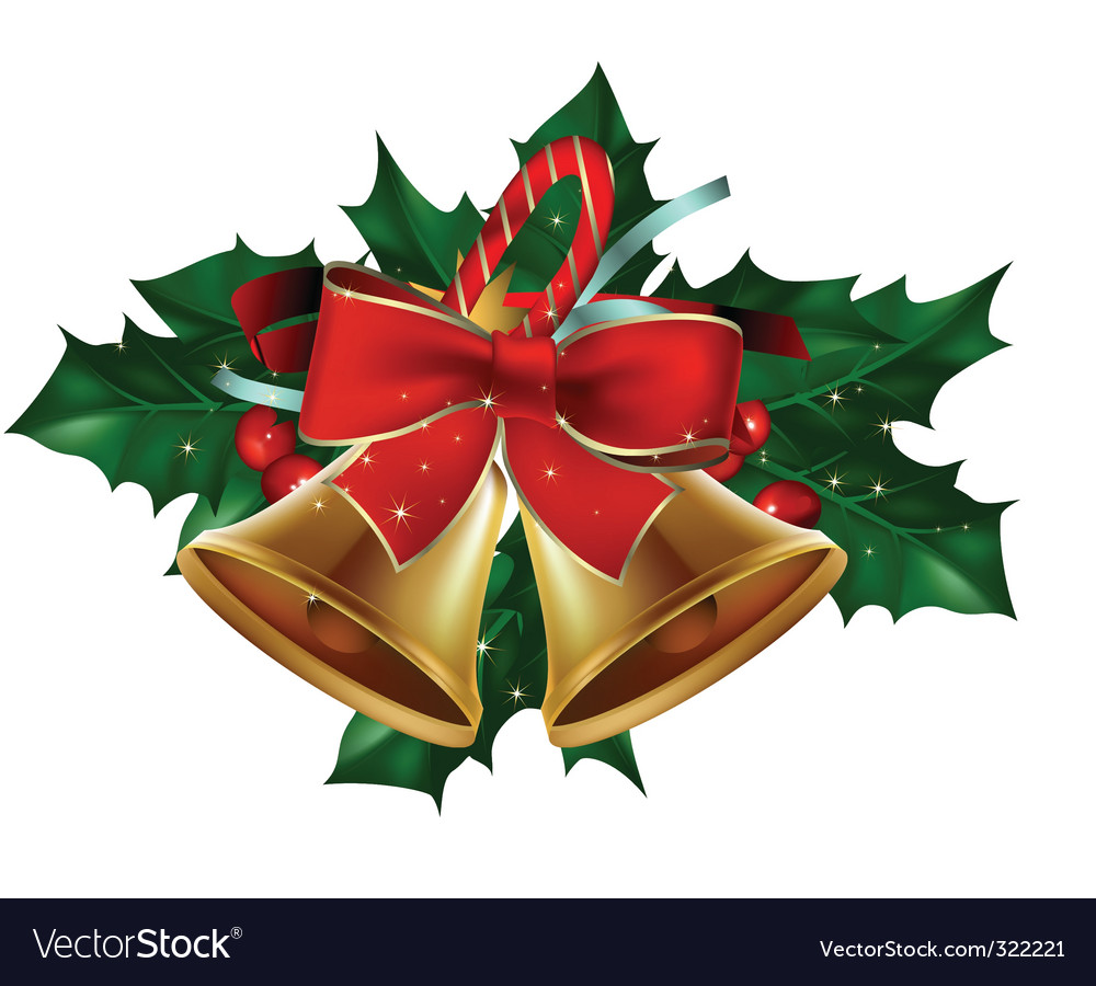 Christmas bells and holly clipart image Christmas bells holly berry image