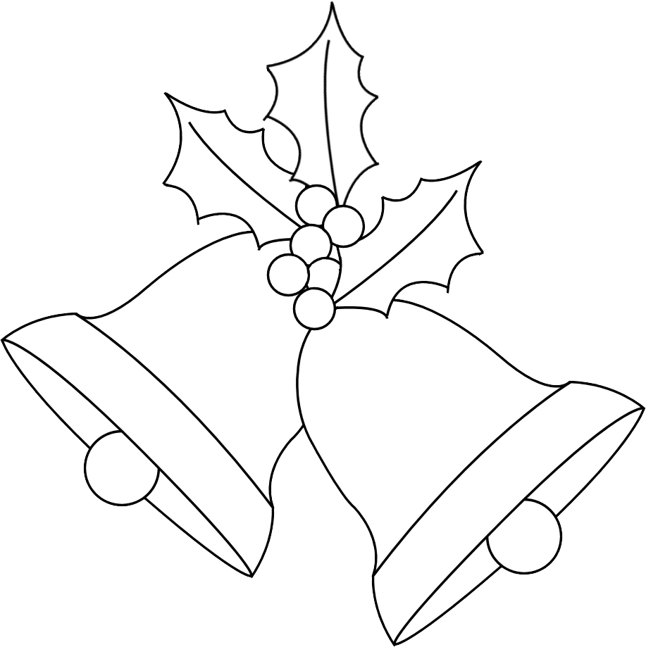 Christmas bells black and white clipart clip art Any Old Craft: Christmas bells and holly digi stamp freebie clip art