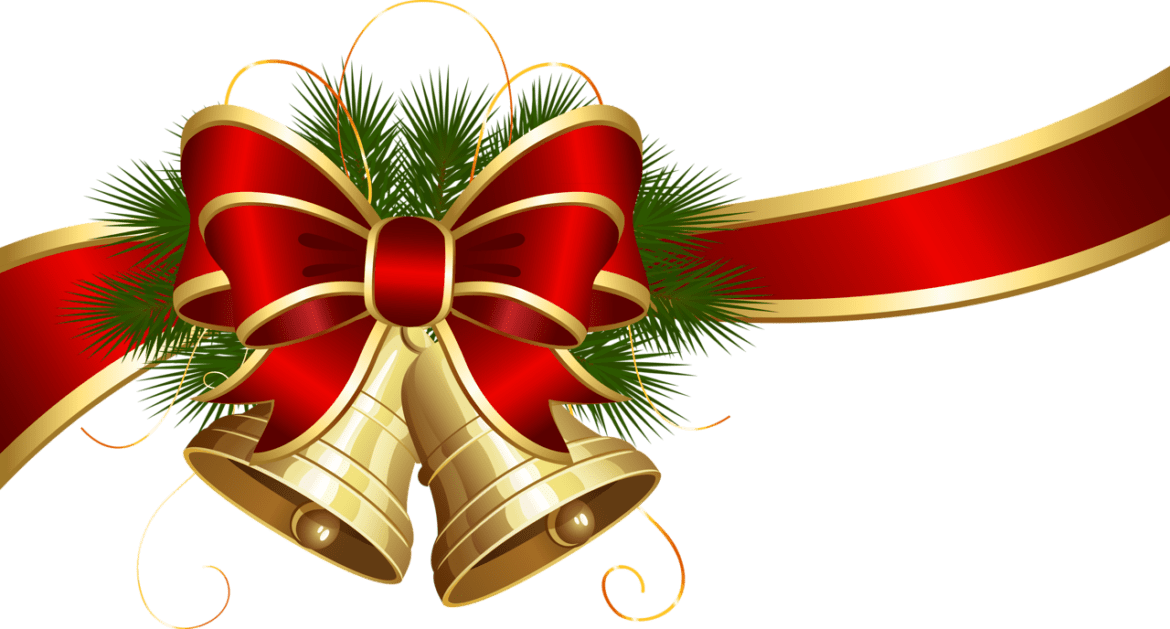 Christmas bells clipart vector library download Transparent Christmas Bells With Red Bow Clipart Png vector library download