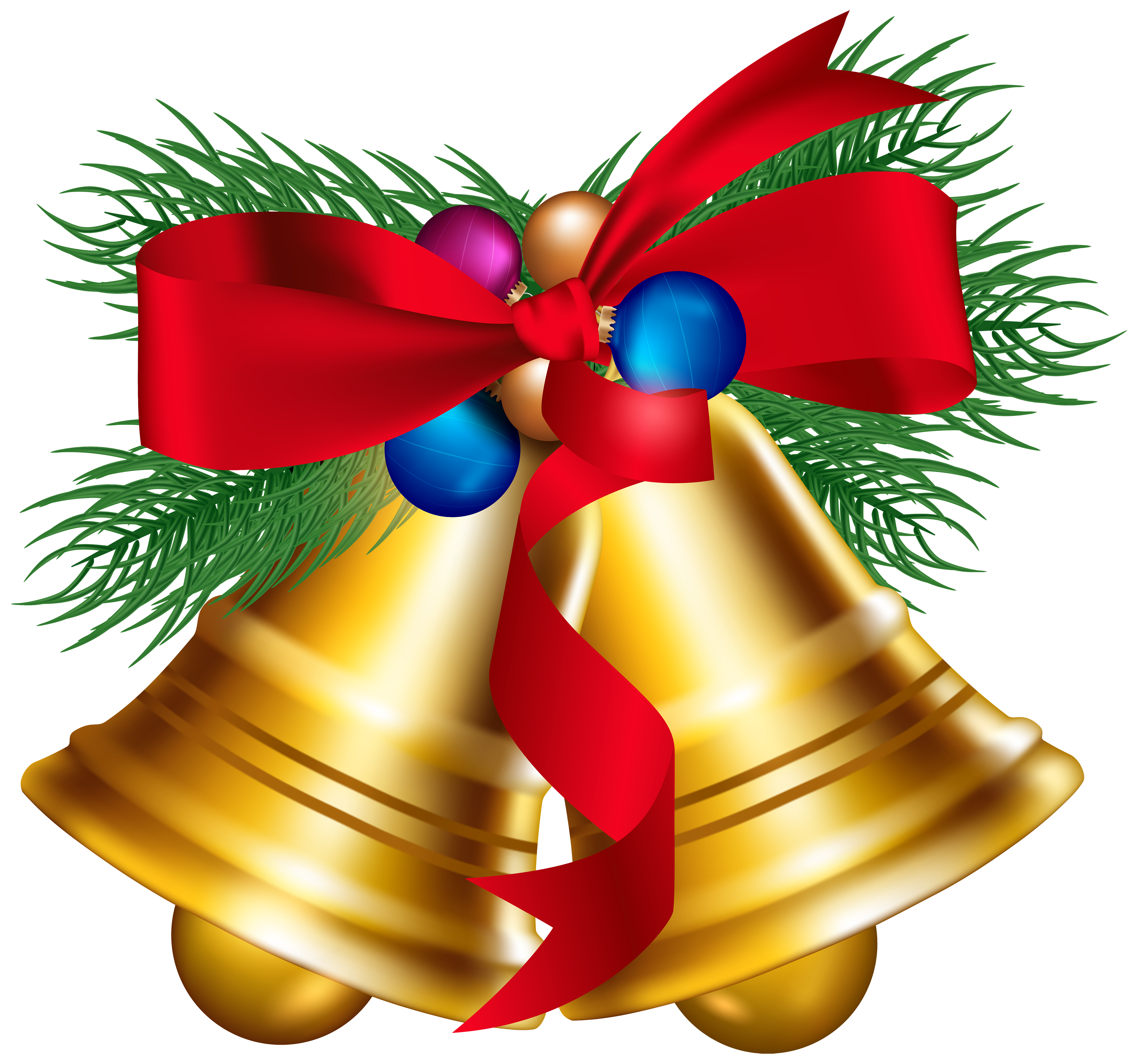 Christmas bells clipart vector free Christmas Bells with Christmas Ballls PNG Clipart Image | Gallery ... vector free
