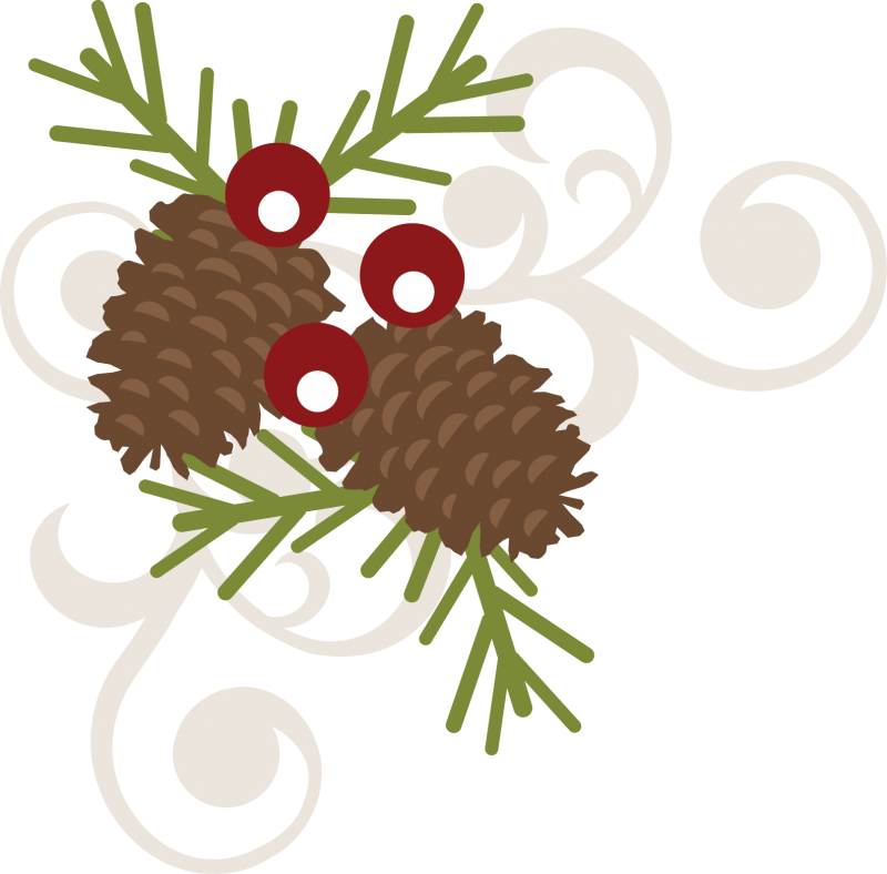 Christmas swirls clipart picture download Pinecone Berry Swirl SVG free svg file free scrapbooking svg file ... picture download